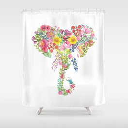 Flower Elephant Watercolor Shower Curtain