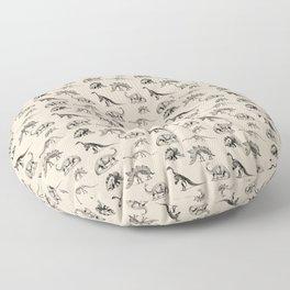 Museum Animals | Dinosaur Skeletons on Cream Floor Pillow