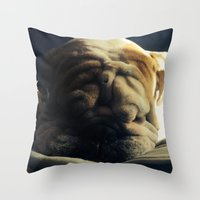 hercules Throw Pillows featuring Sleeping Hercules by Jordan Zuelsdorf