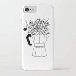 Moka Flowers - Coffee- BW iPhone Case