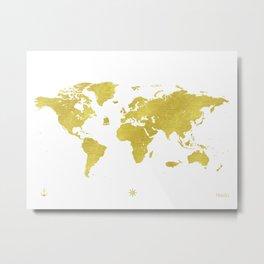 Golden two World map Metal Print