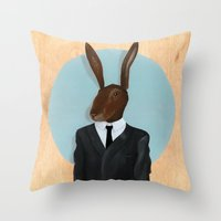 lynch Throw Pillows featuring David Lynch | Rabbit by FAMOUS WHEN DEAD