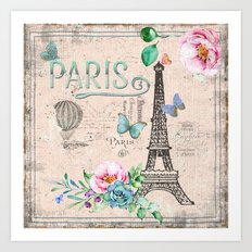 Paris - my love - France Nostalgy- pink French Vintage Art Print