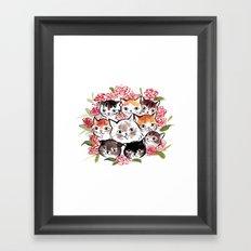 Happy Cats Flower Ball Framed Art Print