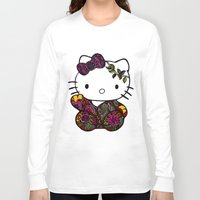 batik Long Sleeve T-shirts featuring Batik Kitty Doodle Art by martywoodskk