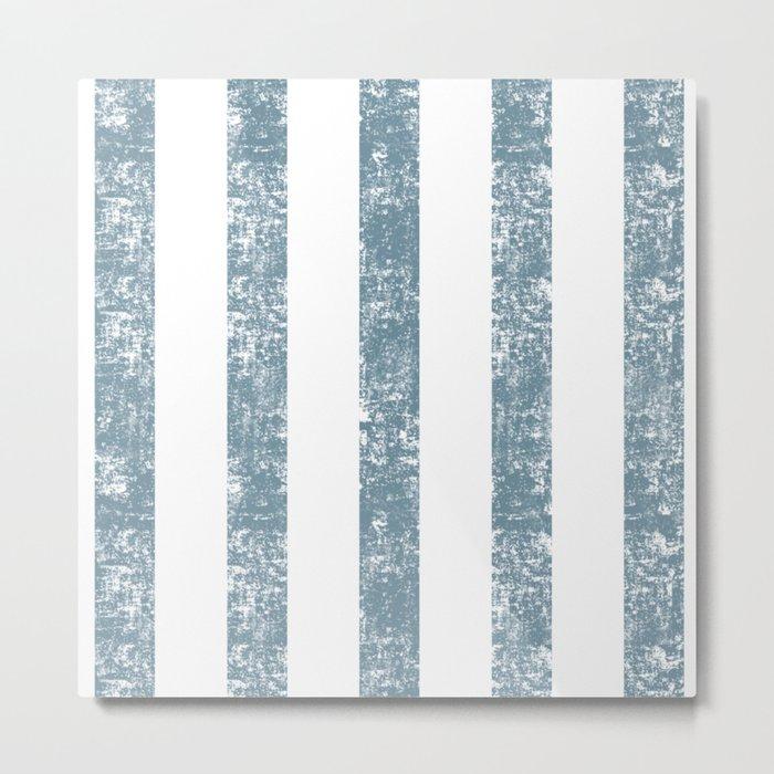 Maritime Navy Beach Pattern- Blue and White Stripes- Vertical - Metal Print