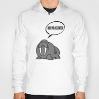 walrus Hoodies featuring Angry Walrus by Joe Hilditch