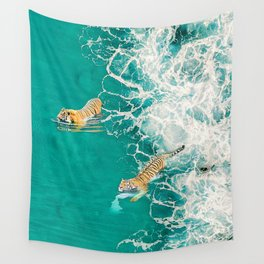 Big Cat Tiger Surfing At Beach Wall Tapestry