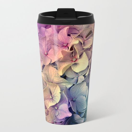 Soft Multi Color Hydrangea Metal Travel Mug
