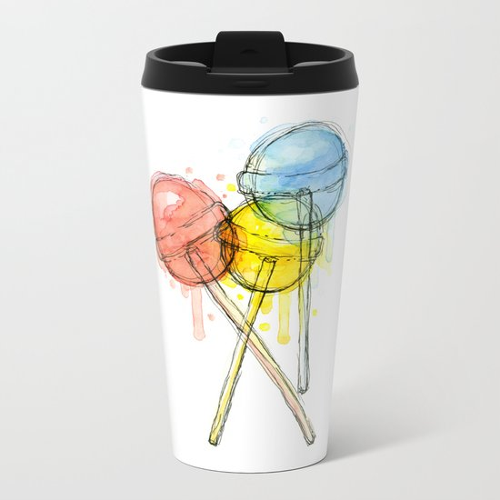 Lollipop Red Blue Yellow Candy Food Watercolor Metal Travel Mug