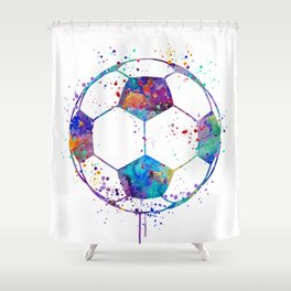 Soccer Ball Colorful Watercolor Sports Shower Curtain