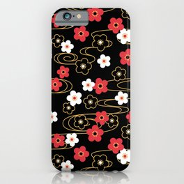 Black Sakura Kimono Pattern iPhone Case