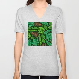 Jungle Leaves and Feather Pattern Sophisticated Design Unisex V-Neck