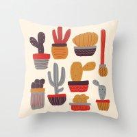 alisa burke Throw Pillows featuring Kaktus by Annisa Tiara Utami
