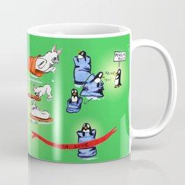 Pillow Sack Race between French Bulldog and Penguin Coffee Mug