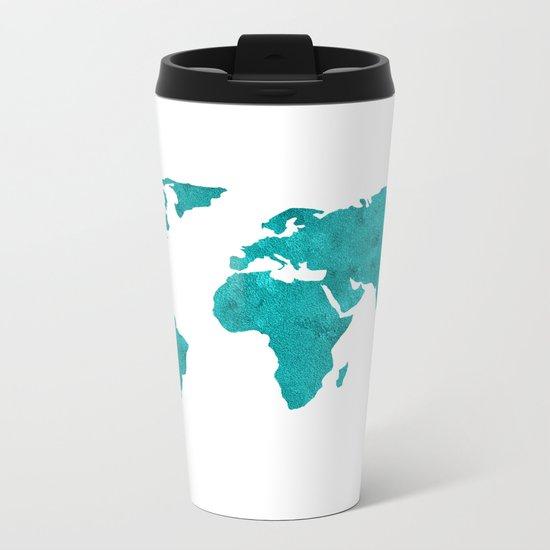 Turquoise Metallic Foil World Map Metal Travel Mug