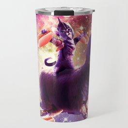 Warrior Space Cat On Llama Unicorn - Hot Dog Travel Mug