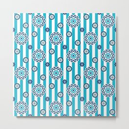 Mod Flowers in Turquoise, White and Navy Metal Print
