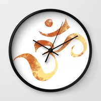 om Wall Clocks featuring OM by Alexandra Doerge