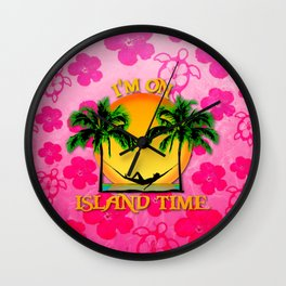 Pink Flowers Island Time Wall Clock