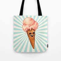 ice cream Tote Bags featuring Ice Cream by Kelly Gilleran