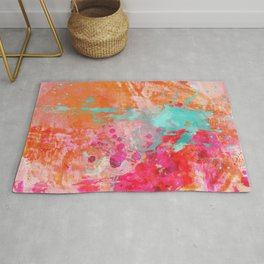 Paint Splatter Turquoise Orange And Pink Rug