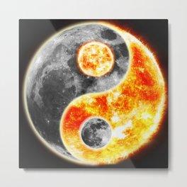 Sun Moon Day and Night Ying Yang Metal Print