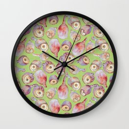 Gumnuts watercolour (green background) Wall Clock