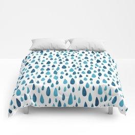 Blue Raindrops Comforters