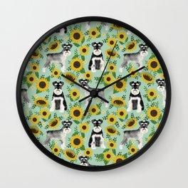Schnauzer sunflowers spring summer floral dog breed dog pattern pet friendly Wall Clock