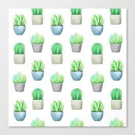Succulent and Cactus Garden Pots Pattern Canvas Print