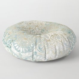 Mandala Flower, Teal and Gold, Floral Prints Floor Pillow