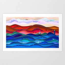 Blue ocean red mountains Art Print