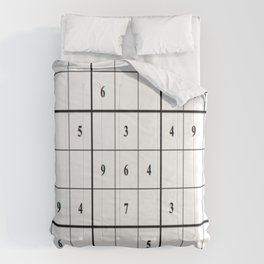 Sudoku Series: Medium Level - Mono Comforters