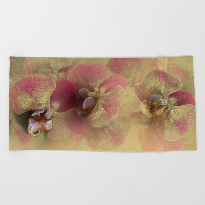 The mystery of orchid(gold). Beach Towel
