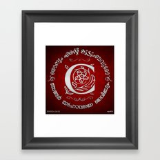 Joshua 24:15 - (Silver on Red) Monogram C Framed Art Print