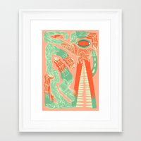 crocodile Framed Art Prints featuring Crocodile by Natalie Young