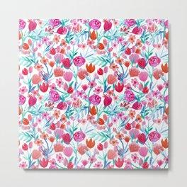 Girly pink coral teal floral watercolor collage pattern Metal Print