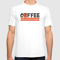 Coffee Rules Everything Around Me Mens Fitted Tee SMALL White