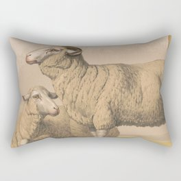 Vintage Domestic Sheep Illustration (1874) Rectangular Pillow