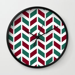 Dark red, teal green and white chevron pattern Wall Clock