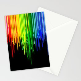 Rainbow Paint Drops on Black Stationery Cards