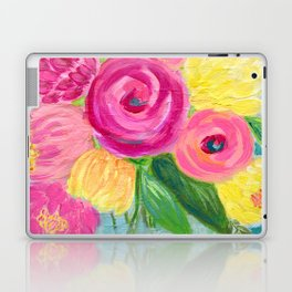 Bouquet of Flowers, Pink and Yellow Flowers, Painting Flowers in Vase Laptop & iPad Skin