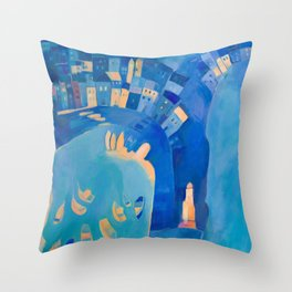 St Ives in Blue - Vibrant Harbour Scene with the Beach, Boats and Lighthouse Throw Pillow