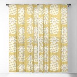 Mid Century Modern Pineapple Pattern Mustard Yellow Sheer Curtain
