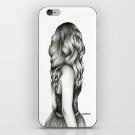 Black & White Pencil Sketch - Wavy Hair Girl iPhone Skin
