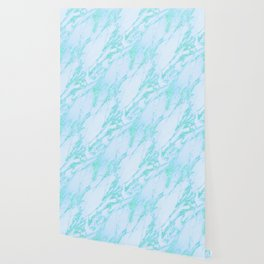 Teal Marble - Shimmery Glittery Turquoise Blue Sea Green Marble Metallic Wallpaper