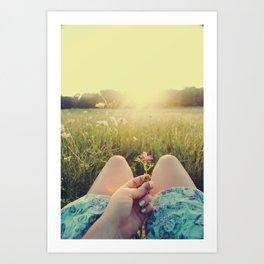 Delicate Flower Sunset Art Print