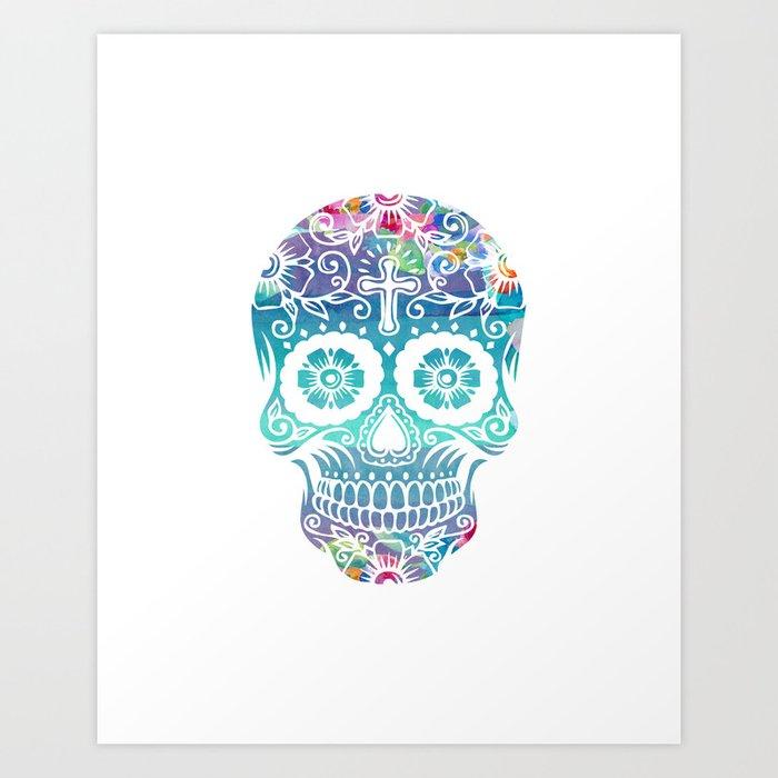 Watercolor Floral Sugar Skull Art Print By Southpacificprints Society6