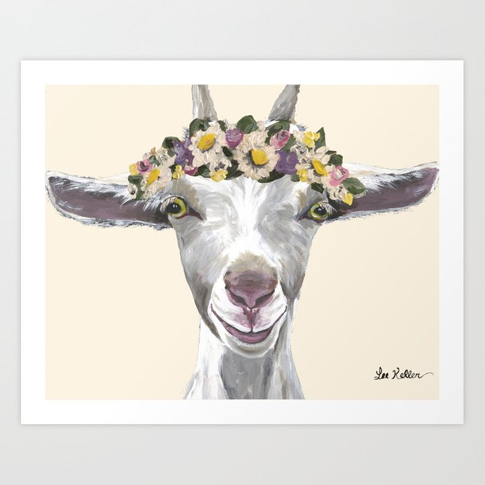 a800810d Goat Painting, Flower Crown Animal Art Print by leekeller | Society6